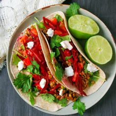 Lentil tacos with arugula, shredded beet and goat cheese
