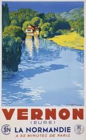 Vintage railway poster of Vernon '55 minutes de Paris'