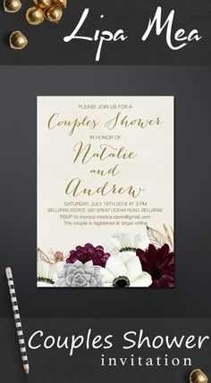 Succulent Couples Shower Invitation Printable, Floral Couples Shower Invitation, Boho Couples Shower Invitations, Bohemian Invitation, Anemone Wedding Ideas, Gold and Burgundy Invitation. More wedding stationery at: lipamea.etsy.com