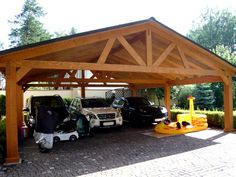 Car Shed, Timber Garage, Carport Designs, Garage Interior, Pole Barn Homes, Home Technology, Building Materials, Gazebo, House Design