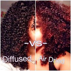 whats the difference between diffused curls and air dried curls?  Diffused curls: Speeds up drying time, Helps shape your curly hairstyle. Tightens your curls a bit with More boing bounce. Air dried curls ; No heat used ,Takes a bit longer to dry and u achieve a looser untamed curls.  Follow for more styles http://www.yeahsexyweaves.tumblr.com