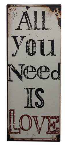 """""""LOVE IS ALL YOU NEED"""" WALL PLAQUE  from Jash Living    Material: Metal Wall Plaque   Size: 30cmW X 76cmH    #qoutes #hangingornaments    http://jashliving.com.au/home-decor.html"""