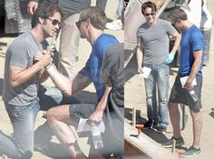 Alexander Skarsgard and Stephen Moyer -- Eric and Bill -- behind the scenes of True Blood