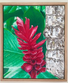 Tropicana. Oil on canvas. Stunning contrast of the pinky red ginger flower against the vibrant green foliage.