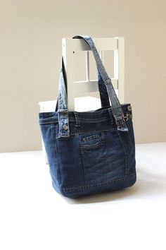 60 ideas for diy bag jeans recycling etsy Diy Bags Jeans, Denim Tote Bags, Denim Purse, Diy Denim, Recycled Denim, Jean Purses, Denim Handbags, Medium Tote, Leather Purses