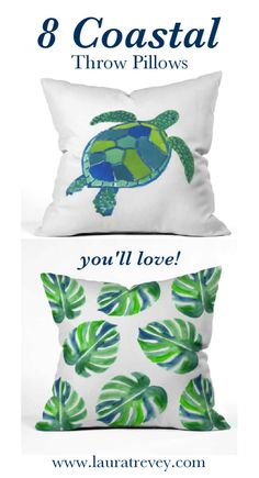 Beach House decorating ideas. Shop these 8 coordinating coastal throw pillows to brighten up your space.