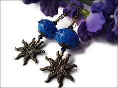 Blue Lampwork Glass Women's Earrings by LadyGreenEyesJewelry Handmade Bracelets, Handmade Jewelry, Handmade Items, Handmade Gifts, Perfect Gift For Mom, Gifts For Mom, Great Gifts, Antique Earrings, Women's Earrings