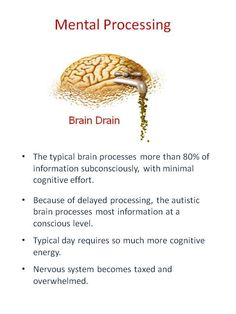 Autistic brain - This presentation combines a blend of information from cognitive research and experiences and ideas shared by adults on the spectrum (thanks Sondra Williams and Karla Fisher).  Everything that autistic people do during the day uses both physical and mental energy. As they go through the day they expend energy, and slowly drain their reserve - https://www.facebook.com/AutismSpectrumConnections?ref=stream  and  https://www.facebook.com/SPDawareness?ref=stream