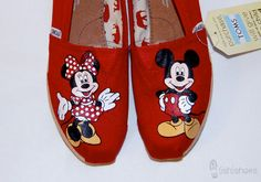 Hand Painted Mickey & Minnie Toms. $95.00, via Etsy.