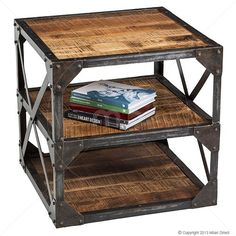 Industrial End Table - Iron - 60cm x 60cm (paint the frame white?)