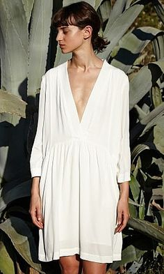 Lola Dress, relaxed ivory crepe dress with deep V front.
