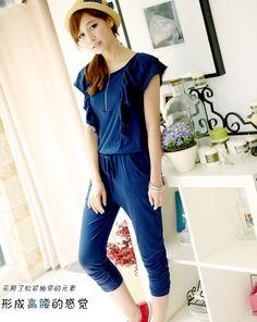 Women New Jumpsuits Korea Falbala Cotton Royal Blue Pants S/M/L@IM1122rbl