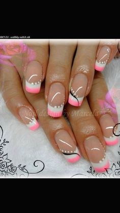 French Tip Nail Art, Gel Nails French, French Nail Designs, Nail Designs Spring, Fingernail Designs, Gel Nail Designs, Sparkle Nails, Pink Nails, Cute Acrylic Nails