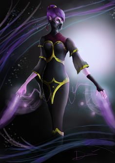 Templar Assassin from Dota2, ah my very first drawing with wacom tablet.....and don't laugh  pls it tooks me 3 day to just adapt and draw this one (omg I feel so embarrassed) anyway all of the color represent with different layers (I feel so stupid confessing about this T_T)