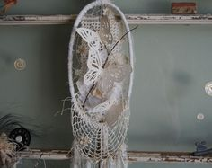 Butterfly Dreams - Abandoned Vintage Bits of Fabric, Crochet and Lace Shabby Chic Nature Dreamcatcher