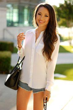 White On Denim ( Shirts & Blouses & Bleached Denim Shorts )