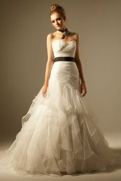 Lace Sweetheart Organza Tulle Satin Ivory Floor Length Wedding Dress with Black Belt
