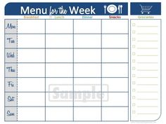 Shop for on Etsy, the place to express your creativity through the buying and selling of handmade and vintage goods. Weekly Menu Printable, Weekly Menu Planners, Templates Printable Free, Meal Planner, Printable Planner, Printables, Week Schedule, Menu Planning Template, Restaurant Menu Template