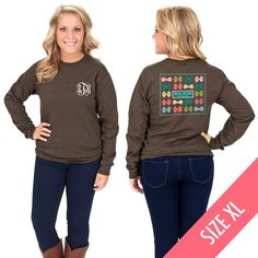 Monogrammed Bows Of Fall Long Sleeve T-Shirt