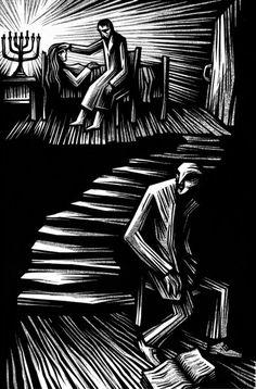 Vladimir Zimakov. Il·lustració per a Der Golem (Gustav Meyrink, 1915) .
