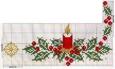 toalha, enfeites, natal, ponto cruz, bordado