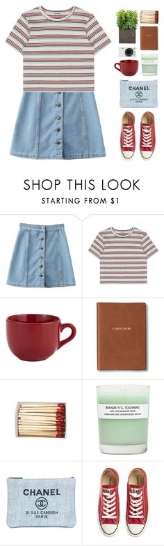 """""""Channels"""" by via-m ❤ liked on Polyvore featuring Pier 1 Imports, Monica Rich Kosann, A.P.C., Chanel, Converse, Nikon, Spring, red, denim and stripes"""
