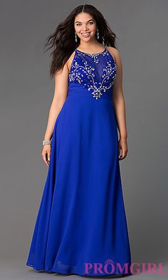 High Neck Formal Plus Gown with Beaded Top  at PromGirl.com