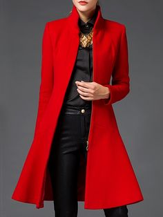 Trendy Band Collar With Zips Overcoats