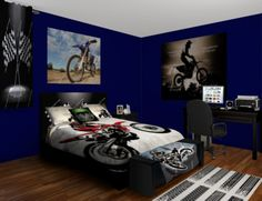 Motocross Sneek Bedroom tyler has this but in gray all Travis Pastrana he has 2 comforters, curtains,trash can...and different posters he loves it.....