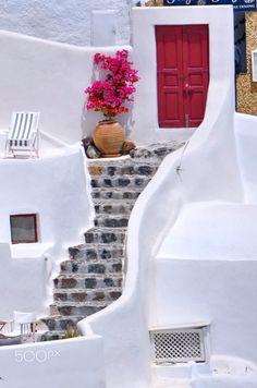 Bougainvillea & the Red Door | Oia, Santorini | Greece