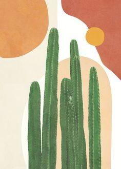 Cactus Painting, Cactus Art, Painting Art, Plant Art, Diy Canvas Art, Cute Wallpaper Backgrounds, Minimalist Art, Gouache, Watercolor Art