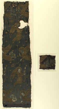 Textile with Brocade Date: late 14th century Culture: Italian Medium: Silk, gold thread Dimensions: Overall (a only): 23 1/2 × 6 1/2 in. (59.7 × 16.5 cm) Overall (b only): 3 7/16 × 3 1/8 in. (8.7 × 8 cm) Storage (Mat): 27 × 17 in. (68.6 × 43.2 cm) Classification: Textiles-Woven