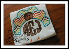 Turkey Applique with Circle Monogram by AprylEatman on Etsy