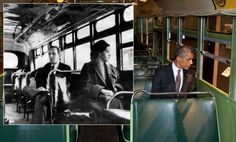 President Barack Obama sat on the bus in Michigan that Rosa Parks made famous when she refused to vacate her seat for a white passenger in December 1955. Rosa Park's arrest led to widespread protest and a boycott of the segregated bus system and is seen as one of the first major victories in the civil rights campaign.