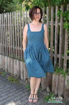 liebste schwester: Sommerkleid in blau, Burda, Kleid nähen