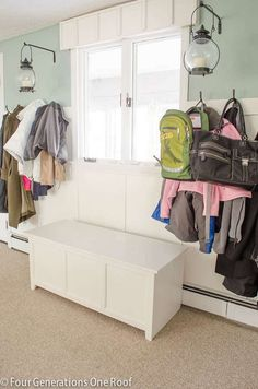 A gorgeous mudroom makeover featuring storage lockers for coats, backpacks and drawers for hats. Closed storage for coat organization. Built In Cabinets, Mudroom, It's Finished, Diy Furniture, Lockers, Locker Storage, Diy Home Decor, New Homes, Diy Projects