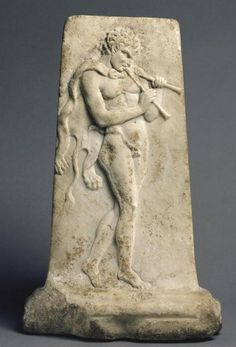 Relief with a Satyr Playing Pipes - marble from Roman imperial period, circa 100 BC-125 AD -  at the Getty Museum