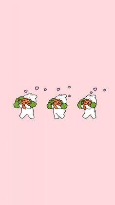 오버액션 꼬마 토끼 & 꼬마 곰 배경2! 너무 귀여운 친구들 한번더 만들어봤어요! 잠금화면이나 배경화... Rabbit Wallpaper, Soft Wallpaper, Kawaii Wallpaper, Wallpaper Iphone Cute, Photo Wallpaper, Ios Wallpapers, Pretty Wallpapers, Cute Food Art, Cute Art
