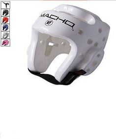 """Macho Dyna Karate Sparring Head Gear All Sizes and Colors. Macho Dyna Karate Sparring Head Gear. All Sizes and Colors.         Made of high quality 3/4"""" foam.        Features ear-release canals.       Colors: Pink, Blue, White, Red or Black.  Sizes S, M, L, XL.  Head Gear Sizing Chart Availability: ships in 3-5 days         Size     Circumference       US     Metric (cm)       S     19 1/2 - 20 1/2""""       49.5 - 53       M     21"""" - 22""""       54 - 56       L     22 1/2 """" - 23""""       57…"""