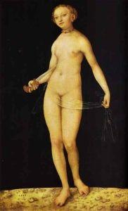 Lucas Cranach der Ältere--Eva .. Warum denken wir immer zuerst an Eva, wenn es um den Schöpfungsbericht geht? War Adam nicht der erste Mensch? Und wurde aus Adams Rippe nicht Eva, seine Frau, erschaffen? Das sind fast rhetorische Fragen, denn wir alle wissen oder ahnen doch, warum Eva in dieser biblischen Geschichte stets die Hauptfigur bleiben wird. Sie ist - salopp, also profan gesprochen: einfach viel spannender als Adam.