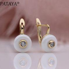 14k yellow gold enamel earings w// diamond Hanging Lotus push back FREE SHIPPING