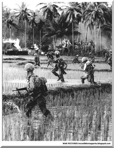 in the Vietnam War, many soldiers had to walk through muddy marshes and in very hot weather. Their thick outfits and helmets were not exactly designed for this kind of behavior.