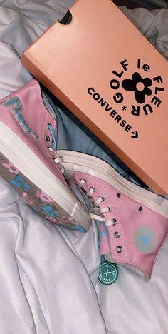 bbriannagomez Golf le Fleur light pink and baby blue converse high tops😍 Blue Converse High Tops, Baby Blue Converse, Converse Shoes, Shoes Sneakers, Converse Style, Sneakers Fashion, Fashion Shoes, Golf Fashion, All Star