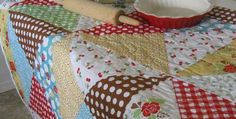 """Great Tips for Trimming Large Blocks with Rulers You (Probably) Already Have! Quilts made with large blocks are quite popular as they make a big impact with less cutting and sewing. However, trimming the pieced blocks can be a challenge without buying special large rulers. """"Easy as Pie"""" quilt pattern by Karen Walker. Luckily, Karen …"""
