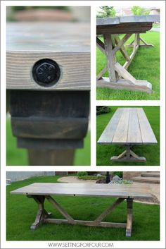 DIY Restoration Hardware Table with grey wash finish for a salvage look! Make this!