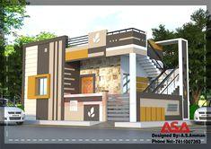 Village House Design, House Front Design, Door Design, Wall Design, Exterior Design, Front Elevation Designs, House Elevation, House Map, House Stairs