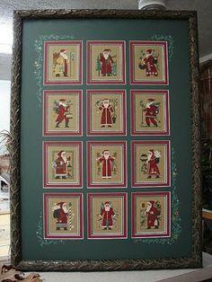 12 years of Prairie Schooler santas (framing by Jill Rensell) LOVE THIS!!