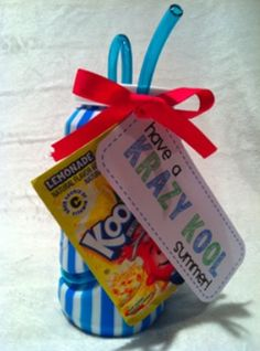 "Krazy straws, Kool Aid, and these fun {free!} gift tags will make one ""Krazy Kool"" gift for students"