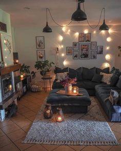 Cozy Living Room Warm, Boho Living Room, Home And Living, Living Room Decor Cozy, Earth Tone Living Room Decor, Cute Living Room, Cosy Room, Warm Home Decor, Living Room Lighting