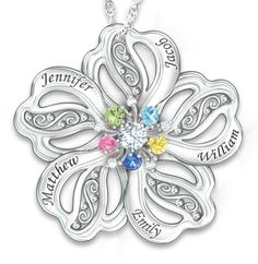 Birthstone family tree necklace with names family tree necklace flower shaped mothers necklace with up to 5 kids names and birthstones 119 mozeypictures Choice Image